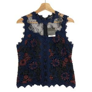 Topshop Womens Lace Top Floral Design Sleeveless